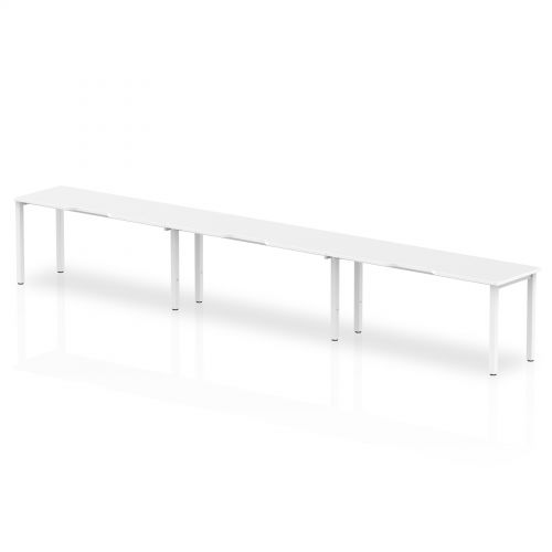 Single White Frame Bench Desk 1400 White (3 Pod)