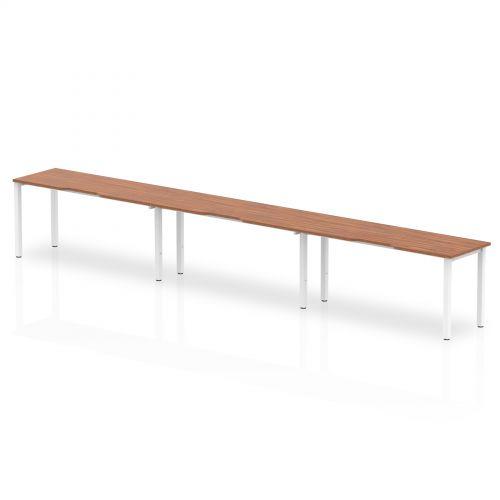 Single White Frame Bench Desk 1400 Walnut (3 Pod)