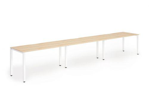 Single White Frame Bench Desk 1400 Maple (3 Pod)