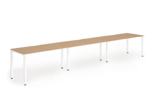Single White Frame Bench Desk 1400 Oak (3 Pod)
