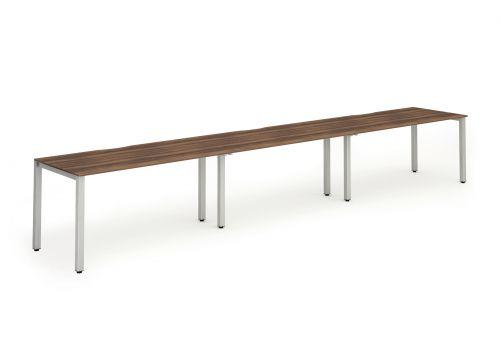 Single Silver Frame Bench Desk 1600 Walnut (3 Pod)