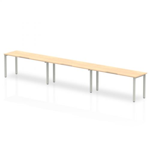 Single Silver Frame Bench Desk 1600 Maple (3 Pod)