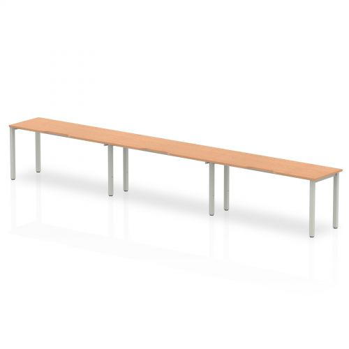 Single Silver Frame Bench Desk 1600 Oak (3 Pod)