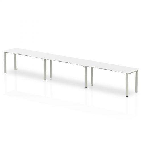 Single Silver Frame Bench Desk 1400 White (3 Pod)