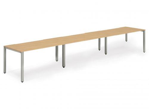 Single Silver Frame Bench Desk 1400 Beech (3 Pod)