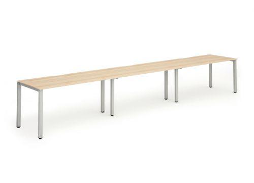 Single Silver Frame Bench Desk 1400 Maple (3 Pod)
