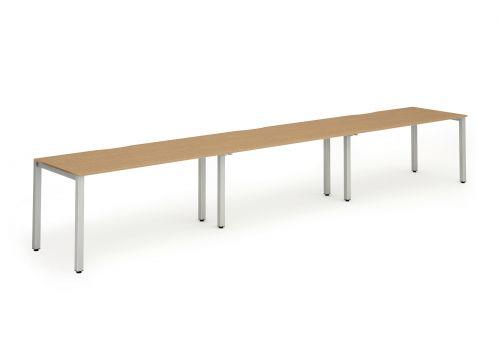 Single Silver Frame Bench Desk 1400 Oak (3 Pod)