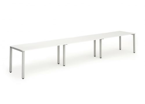 Single Silver Frame Bench Desk 1200 White (3 Pod)