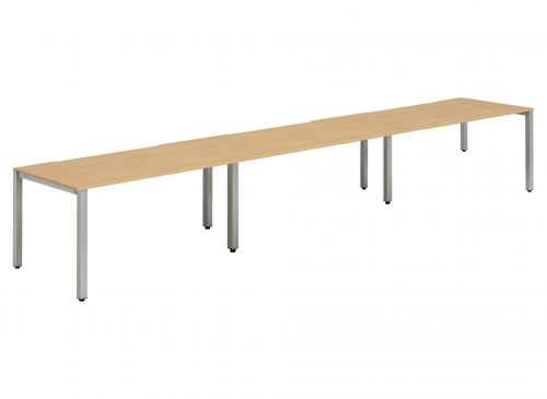 Single Silver Frame Bench Desk 1200 Beech (3 Pod)