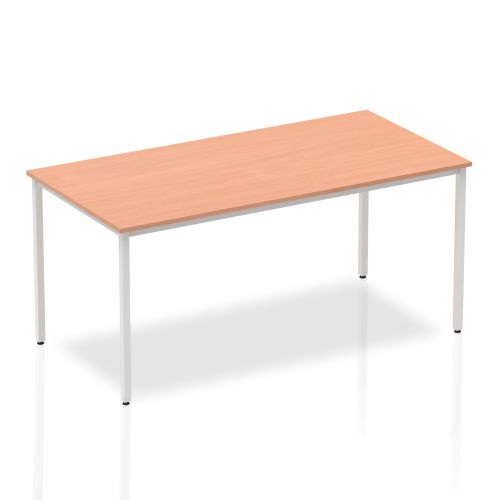 Impulse Straight Table 1600 Beech Box Frame Leg Silver