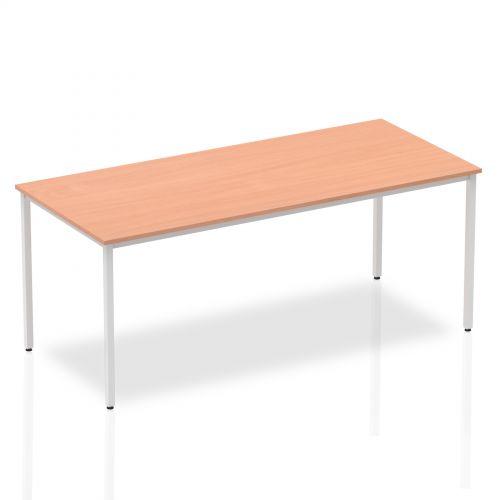 Impulse Straight Table 1800 Beech Box Frame Leg Silver