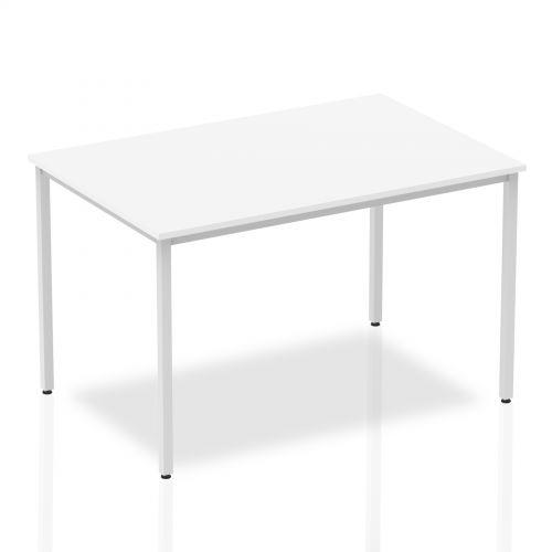 Impulse 1200mm Straight Table White Top Silver Box Frame Leg BF00115