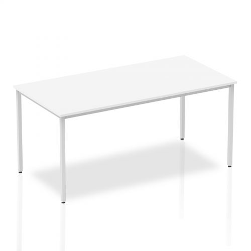 Impulse Straight Table 1600 White Box Frame Leg Silver