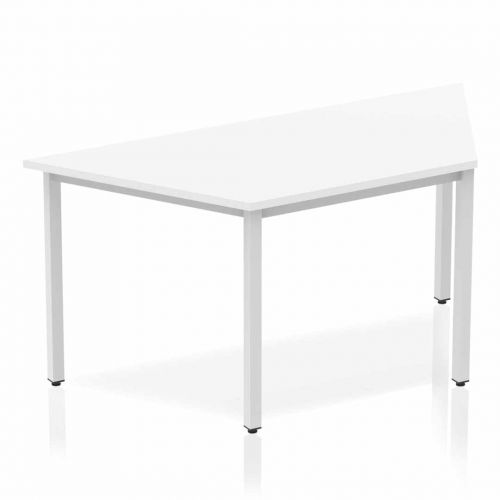 Impulse Trapezium Table 1600 White Box Frame Leg Silver