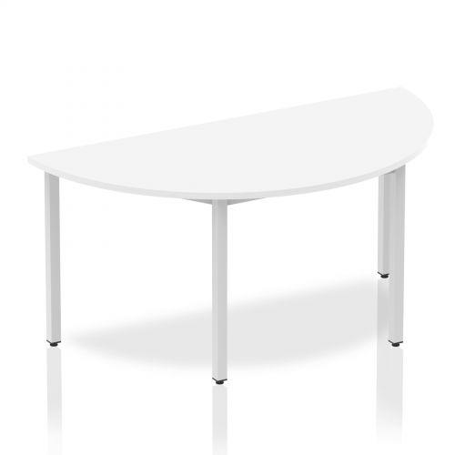 Impulse Semi-circle Table 1600 White Box Frame Leg Silver