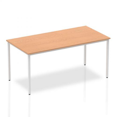 Impulse Straight Table 1600 Oak Box Frame Leg Silver