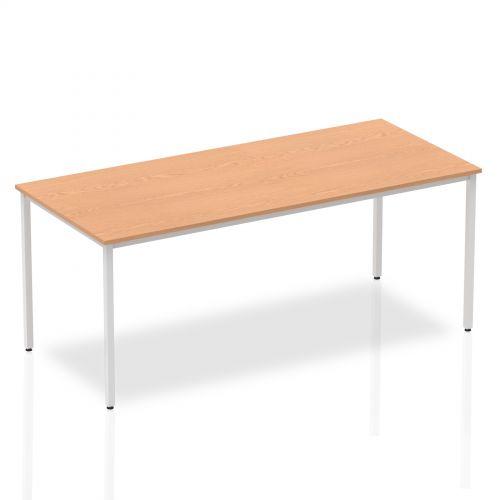 Impulse Straight Table 1800 Oak Box Frame Leg Silver