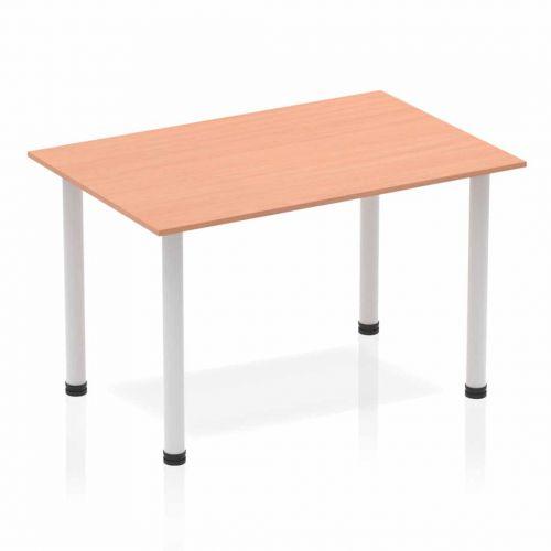 Impulse 1200mm Straight Table Beech Top Silver Post Leg BF00166