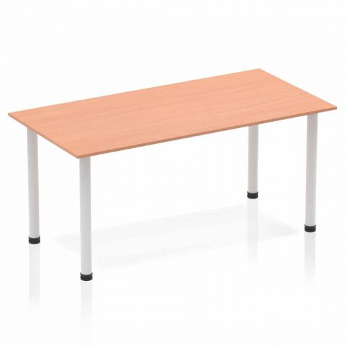 Impulse Straight Table 1600 Beech Post Leg Silver