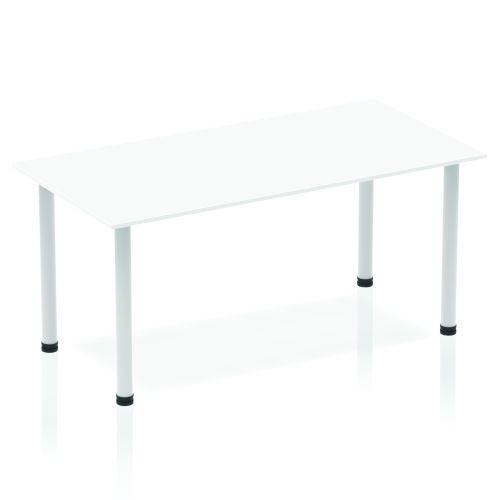 Impulse Straight Table 1400 White Post Leg Silver