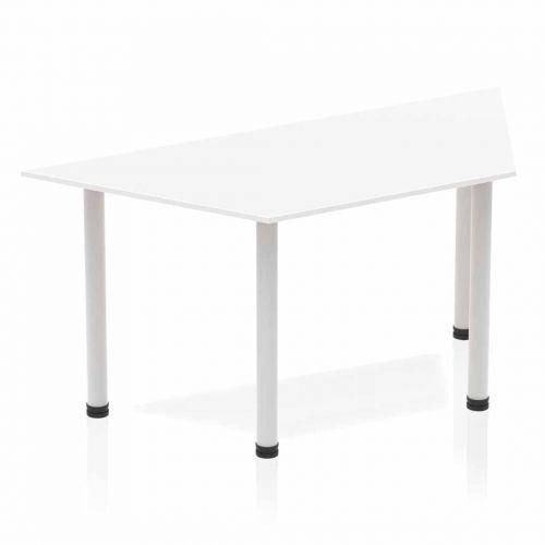 Impulse Trapezium Table 1600 White Post Leg Silver