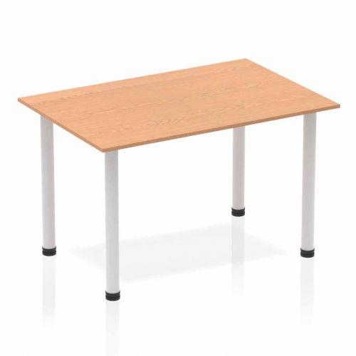 Impulse Straight Table 1200 Oak Post Leg Silver