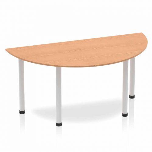 Impulse Semi-circle Table 1600 Oak Post Leg Silver