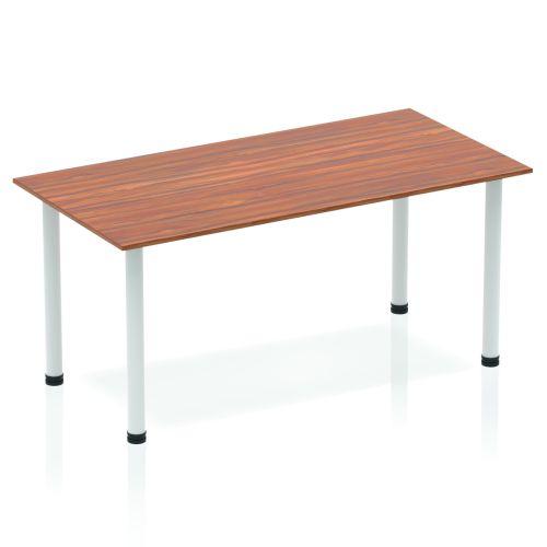 Impulse Straight Table 1400 Walnut Post Leg Silver