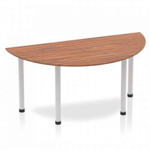 Impulse Semi-circle Table 1600 Walnut Post Leg Silver