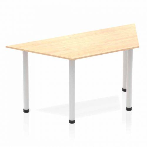 Impulse Trapezium Table 1600 Maple Post Leg Silver