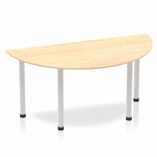 Impulse Semi-circle Table 1600 Maple Post Leg Silver