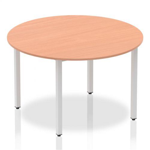 Impulse Circle Table 1200 Oak Box Frame Leg Silver