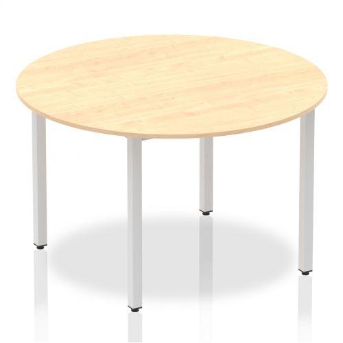 Impulse Circle Table 1200 Maple Box Frame Leg Silver