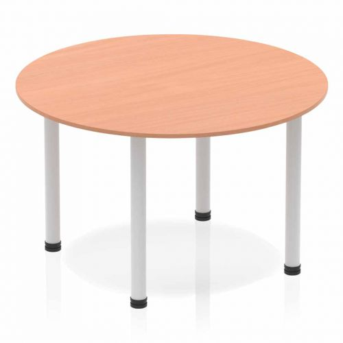 Impulse Circle Table 1200 Beech Post Leg Silver