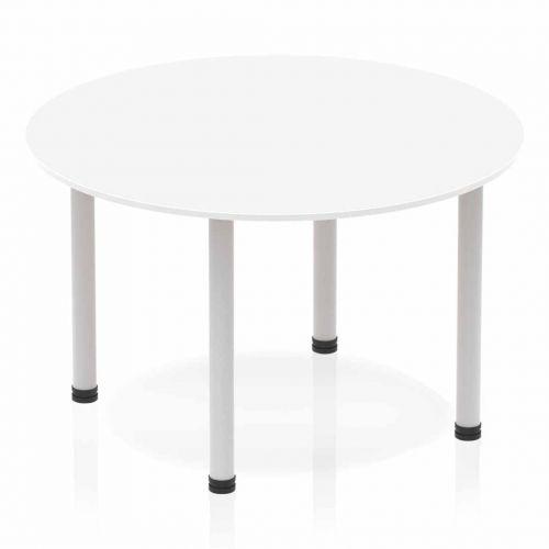Impulse Circle Table 1200 White Post Leg Silver