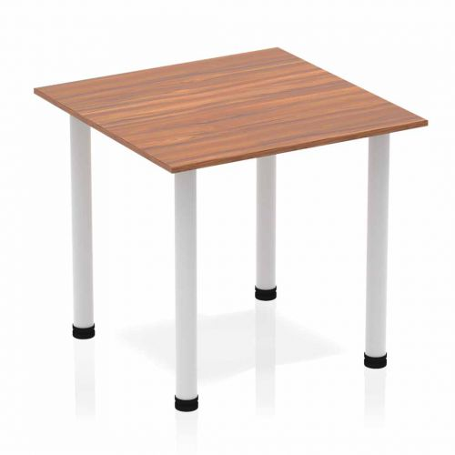 Impulse Square Table 800 Walnut Post Leg Silver