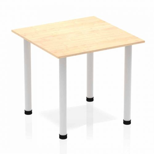 Impulse Square Table 800 Maple Post Leg Silver