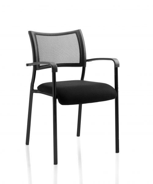 Brunswick Visitor Chair Black Fabric wArms Black Frame