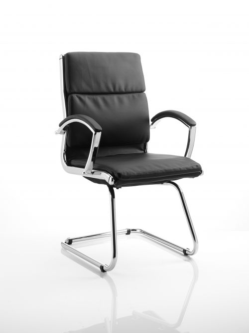 Classic Cantilever Chair Black With Arms