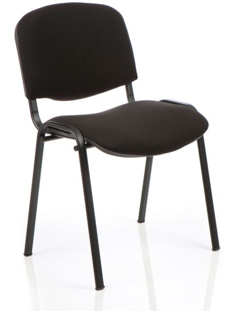ISO Stacking Chair Black Fabric Black Frame Without Arms
