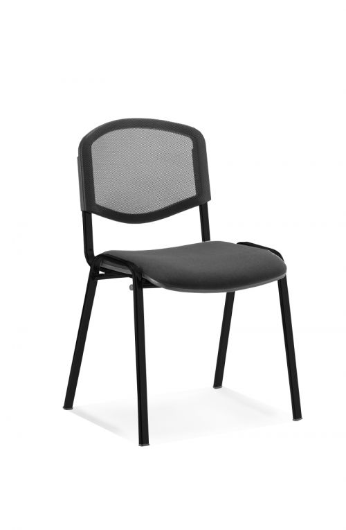 ISO Stacking Chair Mesh Back Black Fabric Black Frame BR000060