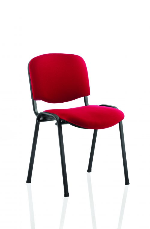 ISO Stacking Chair Wine Fabric Black Frame BR000064
