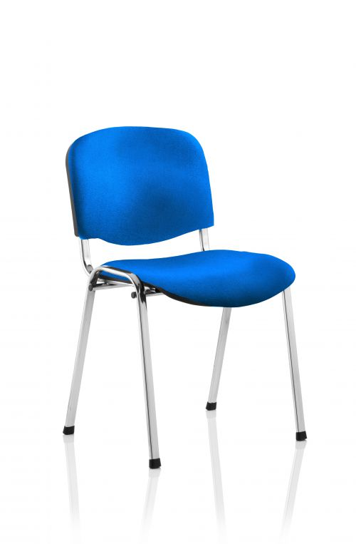 ISO Stacking Chair Blue Fabric Chrome Frame BR000068