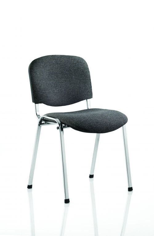 ISO Stacking Chair Charcoal Fabric Chrome Frame BR000069