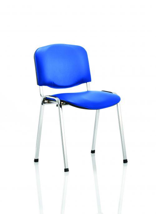 ISO Stacking Chair Blue Vinyl Chrome Frame BR000072