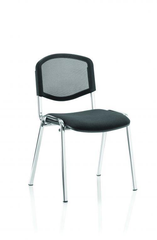 ISO Stacking Chair Black Mesh Chrome Frame BR000073