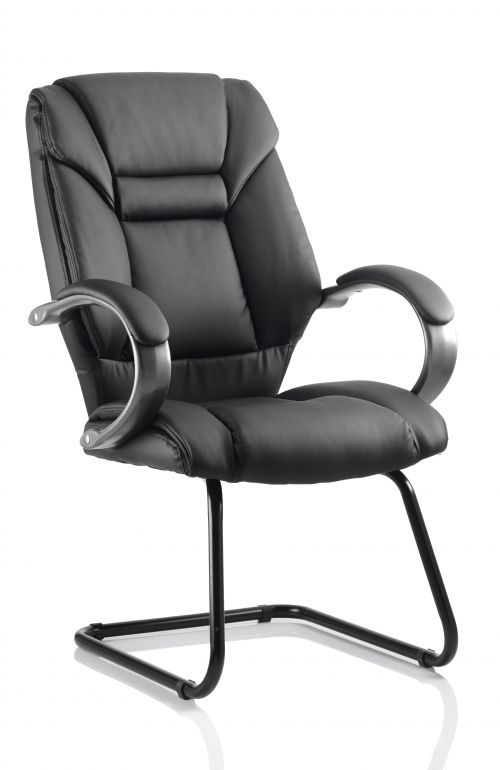 Galloway Cantilever Chair Black Leather With Arms BR000177