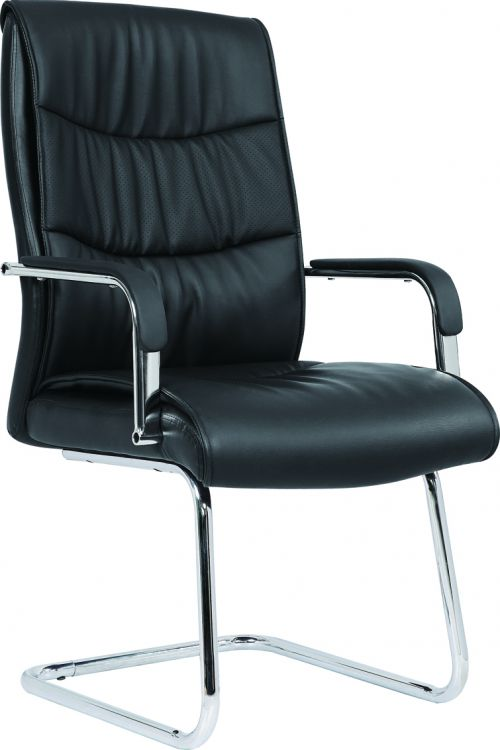 Carter Black Luxury Faux Leather Cantilever Chair With Arms BR000185