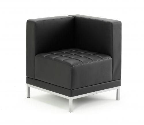 Infinity Modular Corner Unit Sofa Black Soft Bonded Leather BR000198