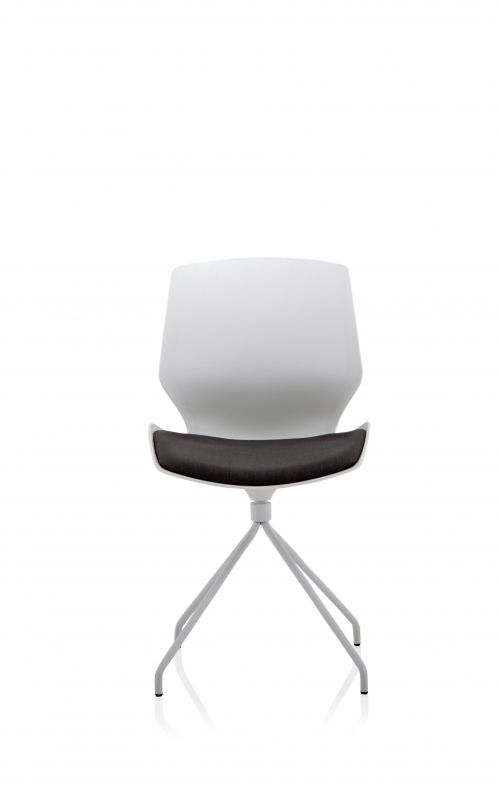Florence Visitor Chair White Spindle Frame Dark Grey Fabric Seat BR000208